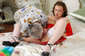 Old young love. Sexy maid clad in red ge - XXX Dessert - Picture 12