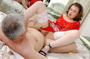 Old young love. Sexy maid clad in red ge - XXX Dessert - Picture 19