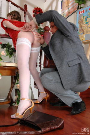 Old and young. Pigtailed girlie getting  - XXX Dessert - Picture 11