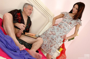 Old man young girl. Slim girl opening he - XXX Dessert - Picture 4