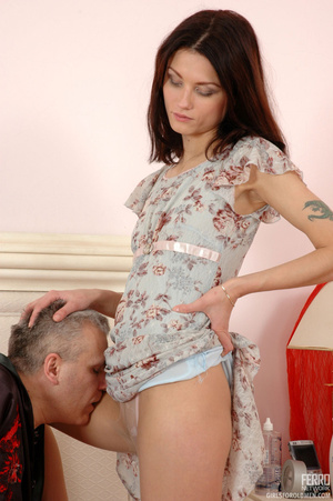 Old man young girl. Slim girl opening he - XXX Dessert - Picture 6