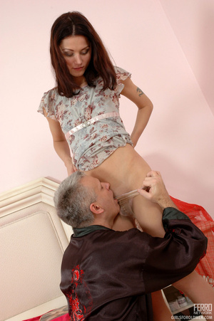 Old man young girl. Slim girl opening he - XXX Dessert - Picture 10