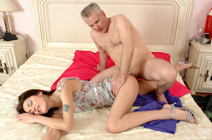 Old man young girl. Slim girl opening he - XXX Dessert - Picture 18