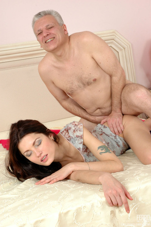 Old man young girl. Slim girl opening he - XXX Dessert - Picture 19