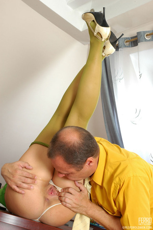 Young old sex. Pigtailed bimbo kneeling  - XXX Dessert - Picture 9