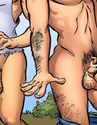 Adult comic art. Git yore ass back here'n git me off!!!