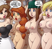 Free adult comics. Three busty beautiful women captured and imprisoned