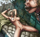 Torture drawings. C'mon slave! Fuck back or I squash this fat knockers