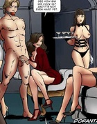 Bdsm cartoons. Sexy girl and her boyfriend captured by perverted couple