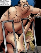 Horror comics. Fat pervert bought a new slave girl on sale!