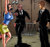Slave art. Two guys in black suits humiliate tied girl!