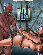 Sado comic. Slave girl gets her both holes plugged by the toy!