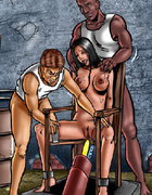 Bdsm art. Slave girl tied to the chair and gets her holes plugged with