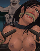 Bondage cartoons. Mistress fucks her slave girl with a rubber cock!