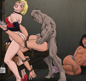 Sado cartoons. Poor slave girl fucked by enormous dick and forced to lick