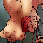 Bondage toons. Woman tied up and hung by their feet and asked to do blowjob.