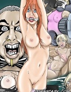Adult bondage comics. Beautiful blonde in the chamber are kept on a chain.