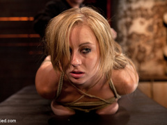 Bratty 19yr old, bound on her knees and made - Unique Bondage - Pic 4