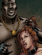 Bondage comics. Pair of healthy blacks fuck little girl with big tits.