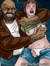 Slave comics. Big hairy hands paw breast young girl.