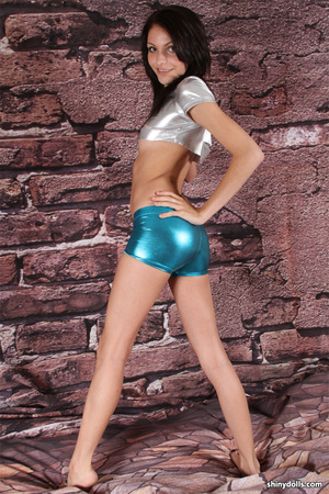 Skinny lusty tten in tight latex shorts  - XXX Dessert - Picture 3