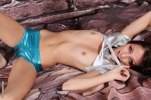 Skinny lusty tten in tight latex shorts  - XXX Dessert - Picture 8