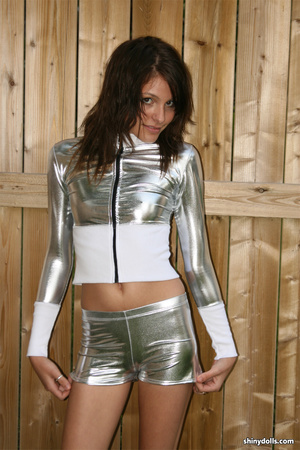 Skinny young nymph in silver latex suit  - XXX Dessert - Picture 1