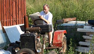 horny senior tractor driver