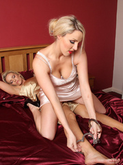 Lucy getting undress by another busty babe - Unique Bondage - Pic 7