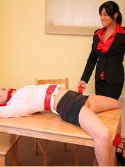 Lolly badcock humilates Michelle B tied to a - Unique Bondage - Pic 1
