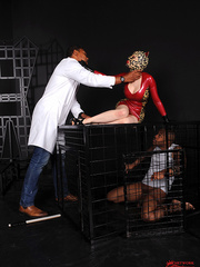 Hot latex babe Lucy takes on two guys thick - Unique Bondage - Pic 5