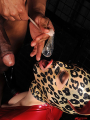 Hot latex babe Lucy takes on two guys thick - Unique Bondage - Pic 12