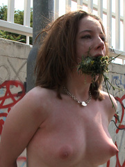 Tortured outdoors slave babe forced to lick - Unique Bondage - Pic 4