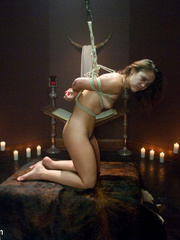 Helplessly tied up slave beauty gets her - Unique Bondage - Pic 10