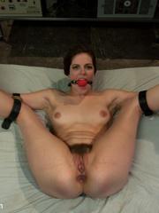 Gagballed and bound slave cutie satisfies - Unique Bondage - Pic 8