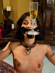 Dark haired restrained beauty gets her first - Unique Bondage - Pic 2