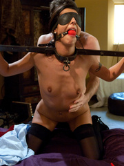 Dark haired restrained beauty gets her first - Unique Bondage - Pic 3