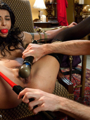 Dark haired restrained beauty gets her first - Unique Bondage - Pic 8