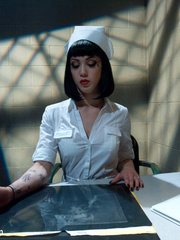 Sexy restrained nurse is enthusiastic about - Unique Bondage - Pic 2