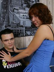 Sex hungry brunette chick in tight black - Unique Bondage - Pic 1