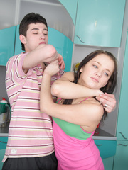 Enslaved young nymph submitting to a - Unique Bondage - Pic 1