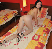 Awesome babe Amy ripped up her white pantyhose just to please her pussy