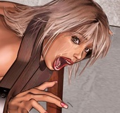 Fetish cartoons. Blonde girl captured and crying for mercy!
