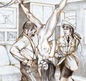 Torture drawings. Slave girl forced to satisfy all deviant sexual desires