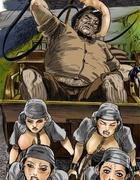 Adult bondage comics. Four slave girls carry cart as horses!