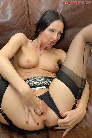 Dark haired amateru milf in black stocki - XXX Dessert - Picture 12