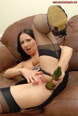 Dark haired amateru milf in black stocki - XXX Dessert - Picture 15