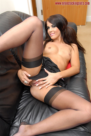 Lovely brunette nymph in black stay ups  - XXX Dessert - Picture 11