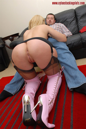 Gagballed amateur blonde in sexy pantyho - XXX Dessert - Picture 8