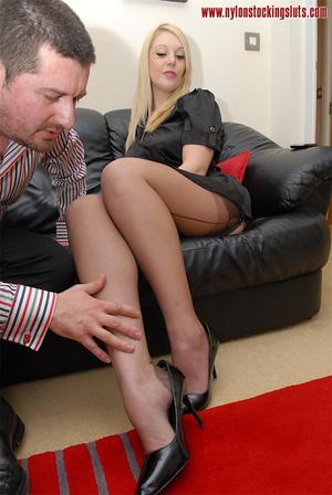 Blonde mature babe in exclusive stocking - XXX Dessert - Picture 13